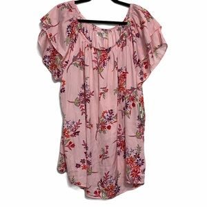 Terra Sky Pink Floral Short Sleeve Shirt